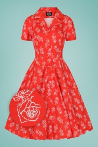 Hearts & Roses 50s Ruby Rose Swing Dress in Red