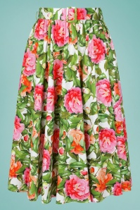 Hearts & Roses 32686 White Floral Swing Skirt 020LW