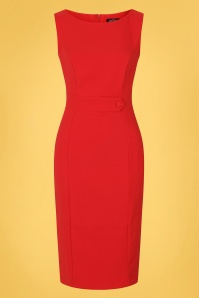 Hearts & Roses 50s Aretha Wiggle Dress in Lipstick Red