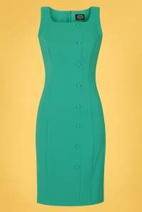 Hearts & Roses 50s Diana Wiggle Dress in Turquoise