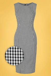 Hearts & Roses 50s Gabrielle Gingham Wiggle Dress in Black and White