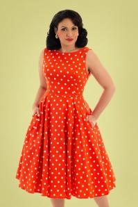 Hearts & Roses 32852 Red Polka Swing Dress 023L