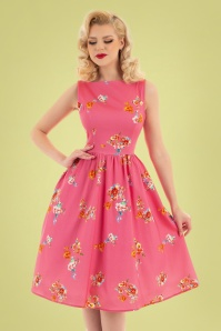 Hearts & Roses 32698 Pink Floral Swing Dress 023L