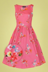 Hearts & Roses 32698 Pink Floral Swing Dress 020LZ