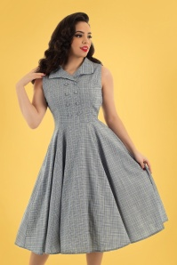Hearts & Roses 50s Christine Check Swing Dress in Grey