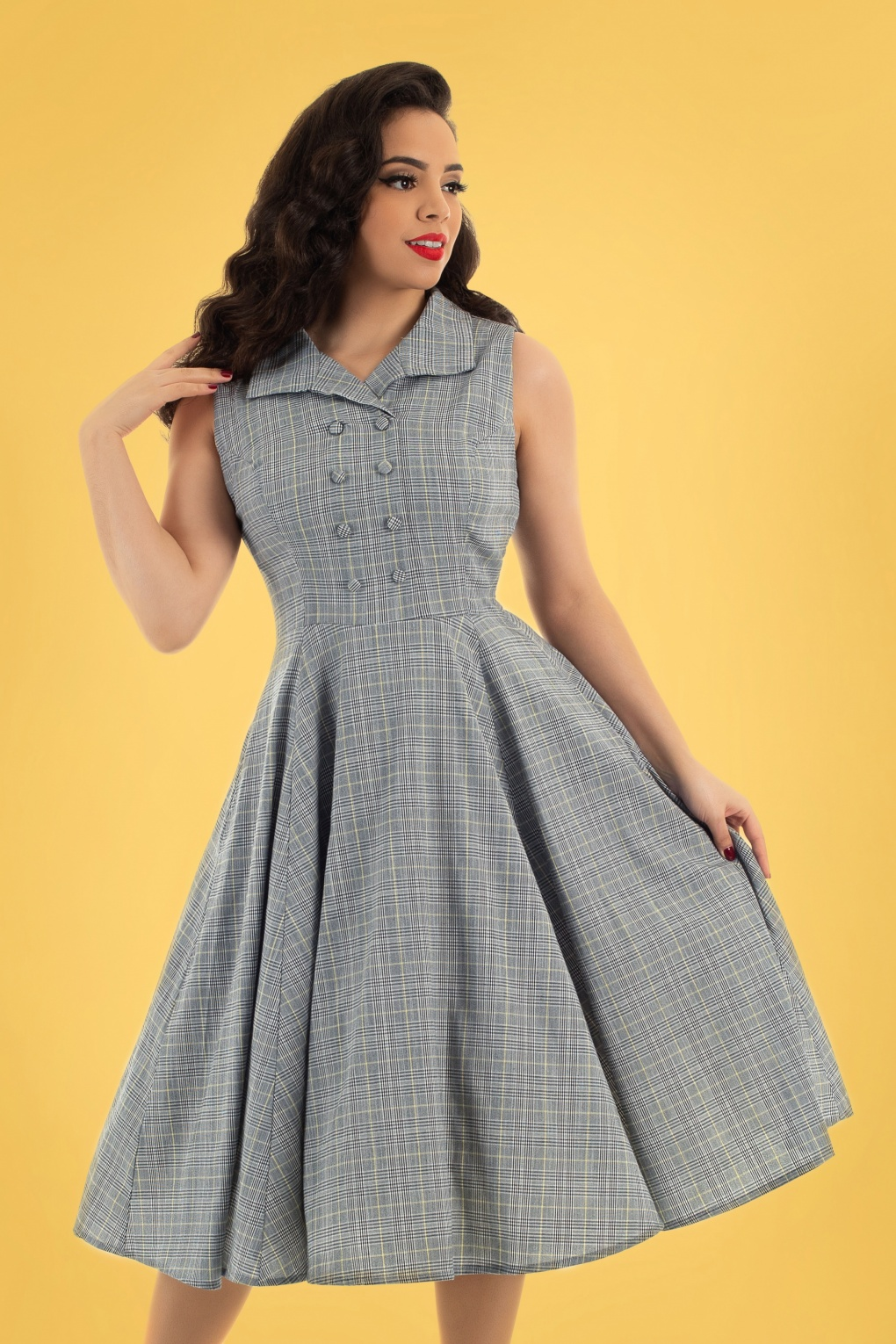 Modest, Mature, Mrs. Vintage Dresses – 20s, 30s, 40s, 50s, 60s 50s Christine Check Swing Dress in Grey £43.35 AT vintagedancer.com