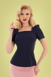 Hearts & Roses 50s Gabriela Top in Navy