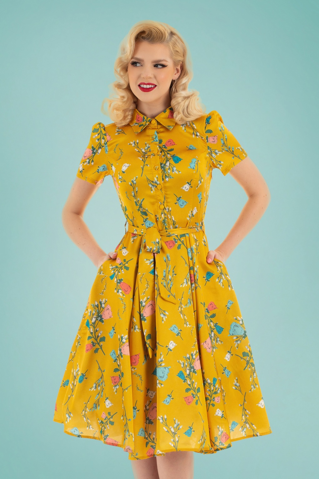 60s Fancy Dress and Quality Clothing 1960s UK 60s Yolanda Floral Swing Dress in Yellow £53.42 AT vintagedancer.com
