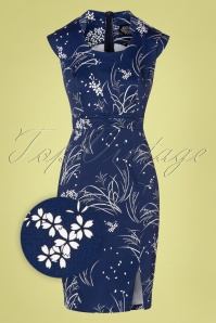 Hearts&Roses 32692 Blue Floral Pencil Dress Topvintage Boutique White 200224 002Z