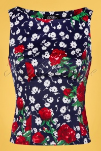Hearts&Roses 32688 Blue Floral Red Blue Roses White Topvintage Exclusive Top 200224 002W