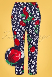 Hearts&Roses 32689 Blue Floral Red Blue Roses White Topvintage Exclusive Pants 200224 002Z