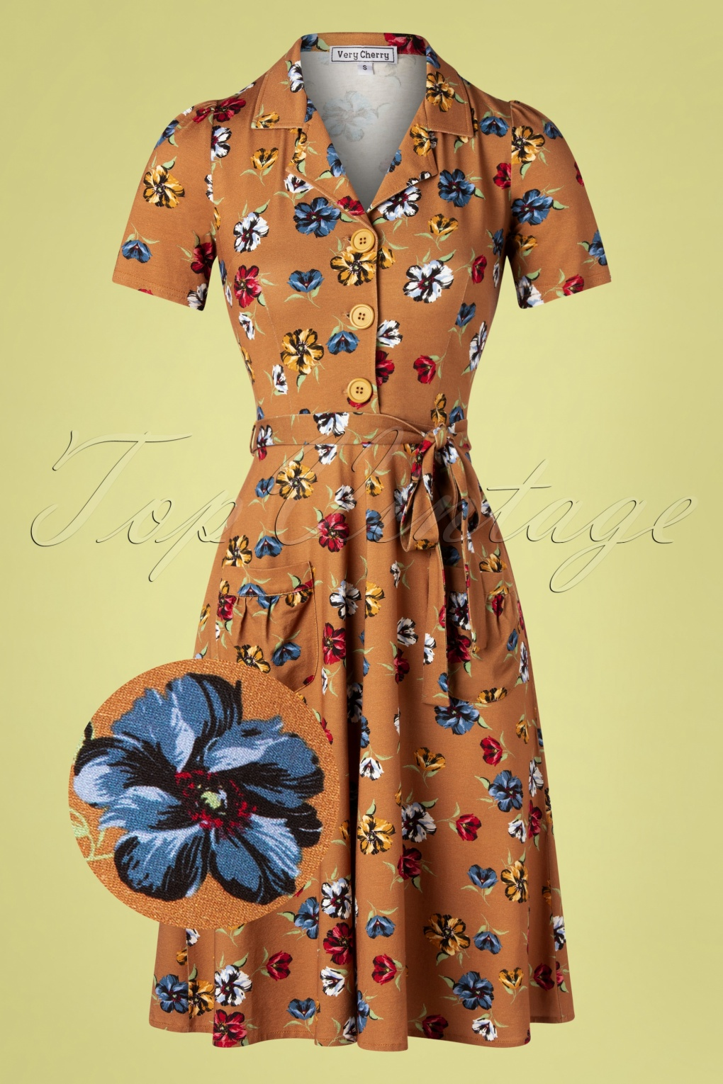 1940s Dresses | 40s Dress, Swing Dress 40s Corniglia Flowers Tricot Revers Dress in Camel £119.68 AT vintagedancer.com