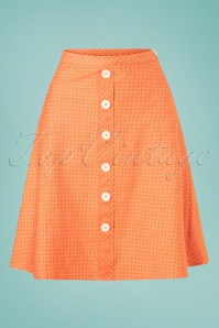 Verry Cherry 31508 Button A Line Skirt Denim Dots Orange20191224 008W