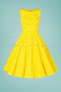 Hearts&Roses 32855 50s Cindy Yellow Polkadot Swing White 200224 012W