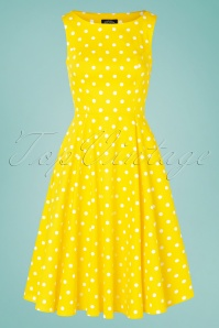 Hearts&Roses 32855 50s Cindy Yellow Polkadot Swing White 200224 003W