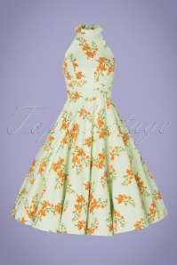 Hearts&Roses 32846 Floral Swing Orange Green Blue Dress 200224 003W