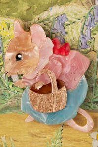 Erstwilder 33923 Mrs Tittlemouse Bunny Brooch Rabbit Peter Cute Red Brown Beige pink Blue 200225 005 W
