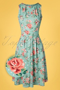 50s Yana Floral Dots Swing Dress in Mint