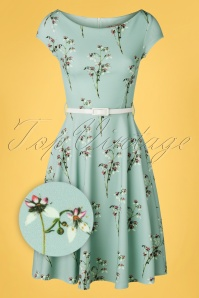 Vintage Chic for TopVintage 50s Arabella Swing Dress in Blue Floral
