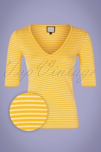 Mademoiselle Yeye 31960 One Step Ahead Yellow Striped Top Shirt 200224 002Z