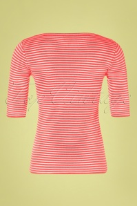 Mademoiselle Yeye 31961 One Step Ahead Yellow Striped Top Shirt Coral 200224 007W