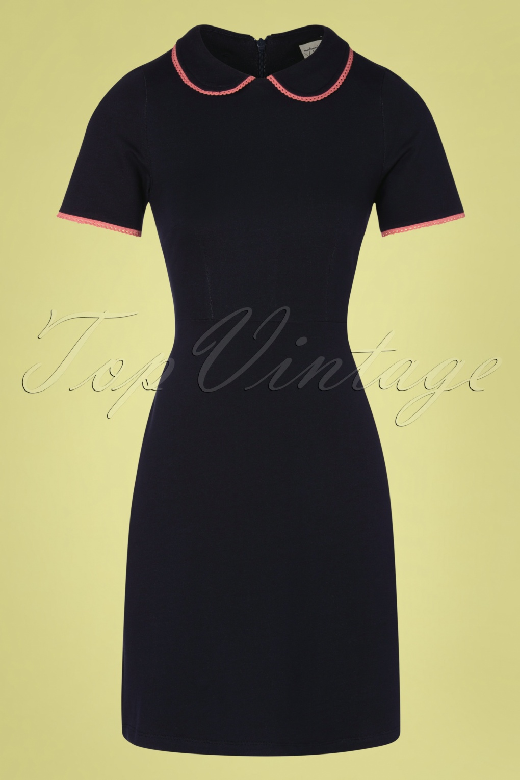 500 Vintage Style Dresses for Sale | Vintage Inspired Dresses 60s Pretty Me Dress in Denim Navy and Pink £96.47 AT vintagedancer.com