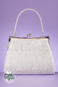 Ruby Shoo 50s Toulouse Handbag in White and Silver