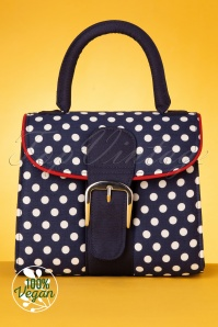 Ruby Shoo 60s Riva Polkadot Bag in Navy