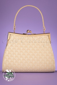 Ruby Shoo 50s Toulouse Handbag in Cream and Gold