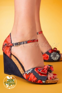Ruby Shoo 60s Molly Flower Wedges in Navy and Coral