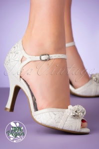 Ruby Shoo 50s Clarissa Peeptoe Pumps in White and Silver