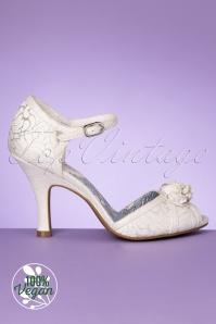 Ruby Shoo 31479 Clarissa White Heels Peeptoe Pearl Silver 200218 004V