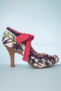 Ruby Shoo 50s Willow Floral Pumps in Sage