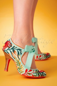 Ruby Shoo 50s Willow Floral Pumps in Aqua