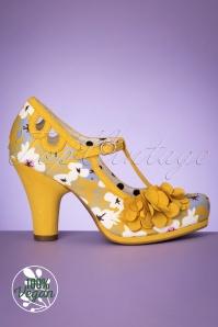 Ruby Shoo 31470 Valerie Tstrap Yellow Flower Heels 200218 010V