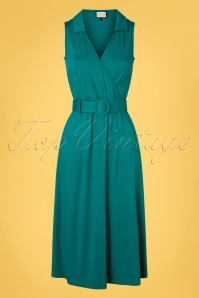 Mademoiselle YéYé 70s Boogaloo Party Dress in Teal Green