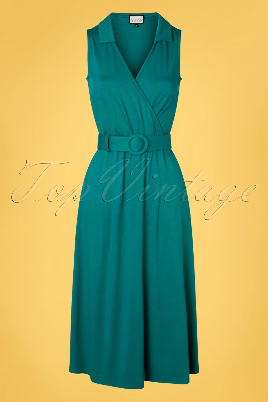70s Dresses – Disco Dress, Hippie Dress, Wrap Dress 70s Boogaloo Party Dress in Teal Green £78.92 AT vintagedancer.com
