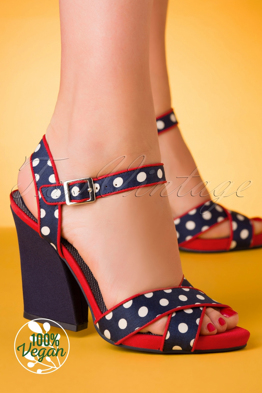Sailor Dresses, Nautical Theme Dress, WW2 Dresses 60s Evie Spots Sandals in Navy £49.73 AT vintagedancer.com