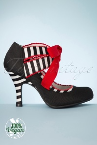 Ruby Shoo 31474 Aisha Black Striped Heels Red 200218 005V