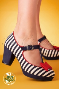 Ruby Shoo 60s Jazz Striped Pumps in Navy