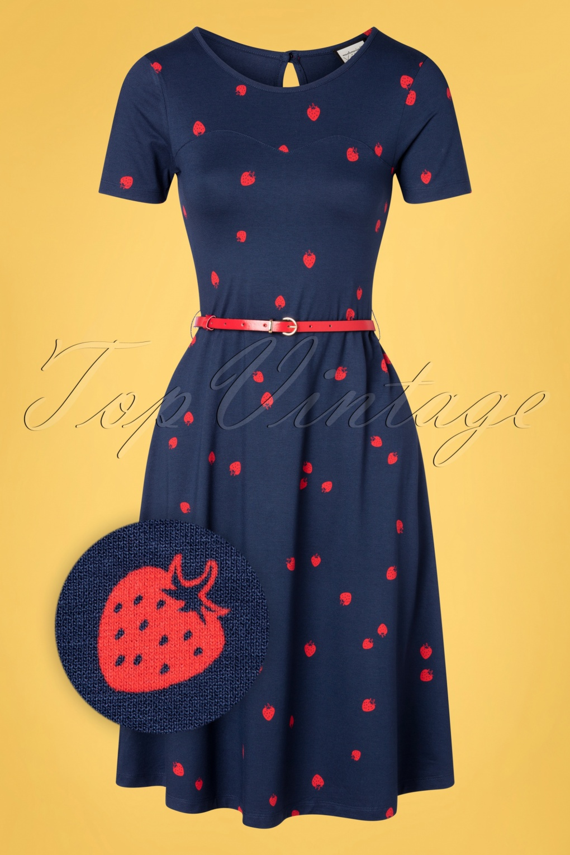 60s Dresses   1960s Dresses Mod, Mini, Hippie 60s A Drink With Beth Dress in Eat Me Navy £84.86 AT vintagedancer.com