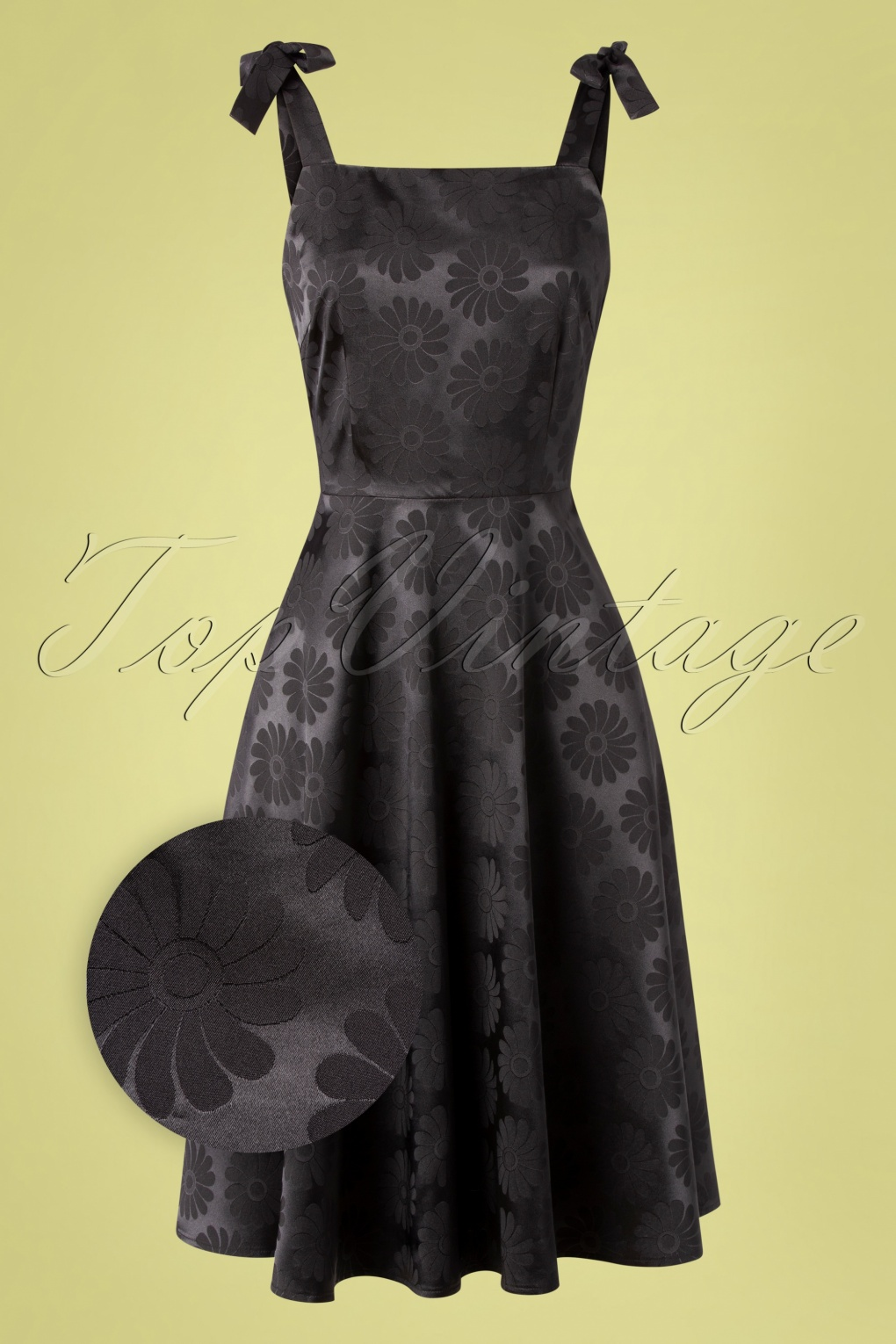 1950s Cocktail Dresses, Party Dresses 50s Begonia Floral Skater Dress in Black £53.28 AT vintagedancer.com