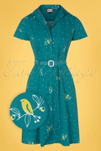 Mademoiselle YéYé 60s Sympathy For Sunshine Dress in The Early Birding Petrol