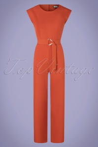 Mademoiselle YéYé 70s Heart Eyes Jumpsuit in Uni Rust Orange