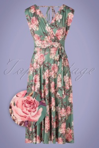 Vintage Chic 33482 Swingdress Green Pink Floral 200226 005 Z