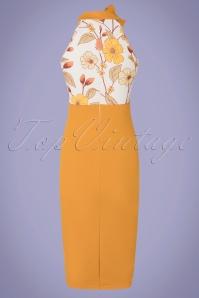 Vintage Chic 33348 Pencildress Bodycon Mustard Floral Necky 200226 010 W
