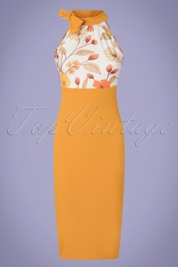 Vintage Chic for TopVintage 60s Raegen Floral Pencil Dress in Gold Yellow