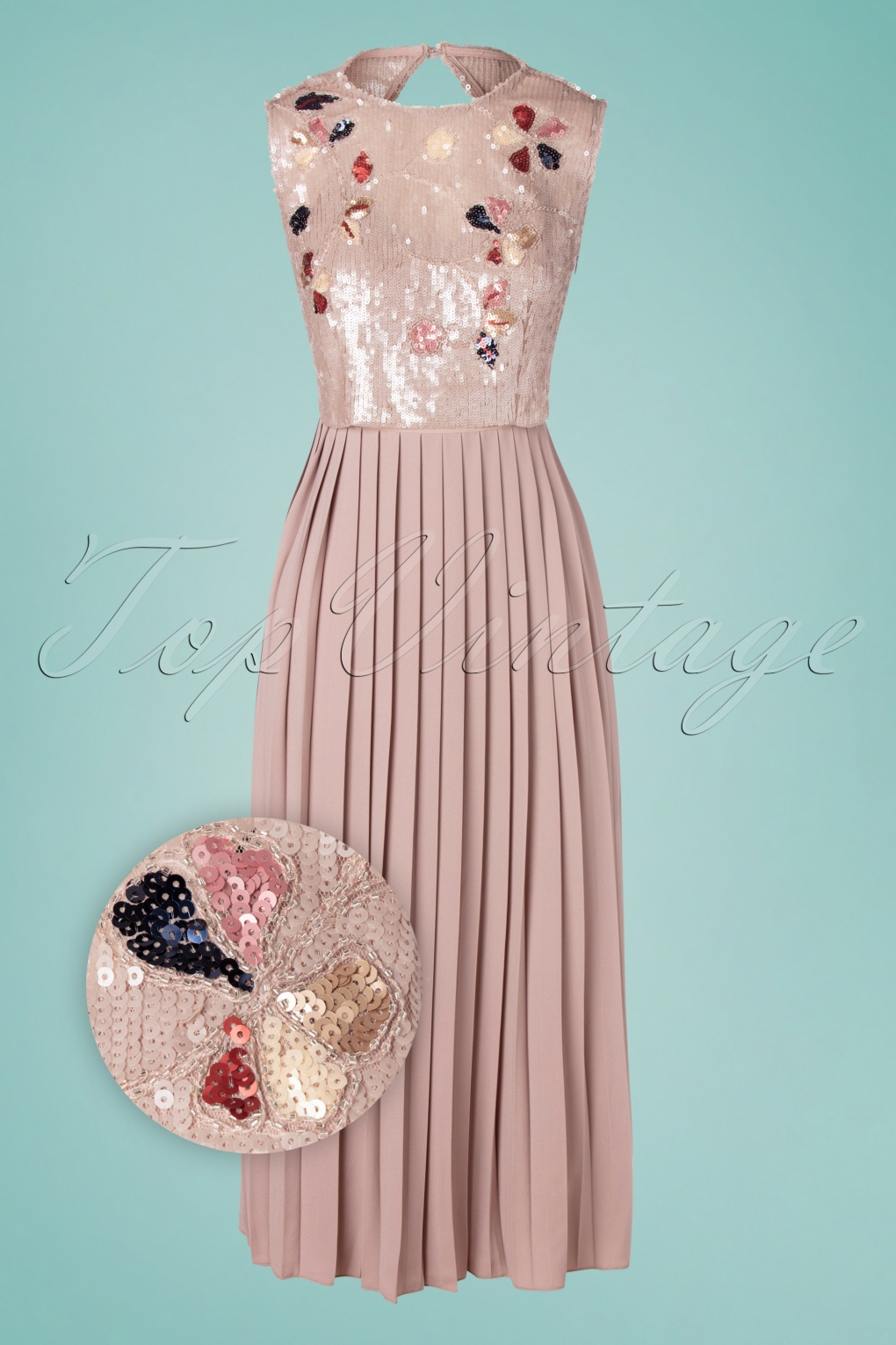 17s Myla Sequins Maxi Dress in Taupe Pink