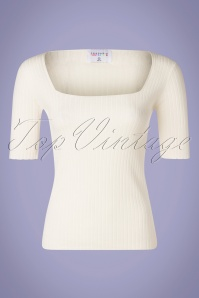 Compania Fantastica 60s Canalé Knitted Top in Ivory White