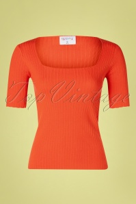 Compania Fantastica 60s Canalé Knitted Top in Tangerine